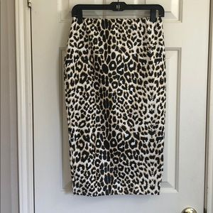 Leopard Print Faux Leather Midi Skirt